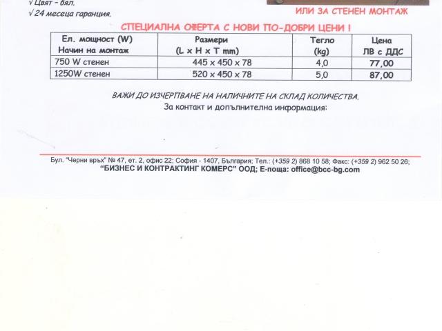 Конвектори за отопление 750Вт